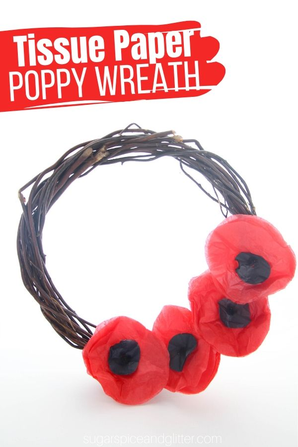 How to make a simple tissue paper poppy wreath with kids - a great way to display your support of veterans every day