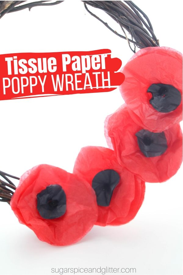 This super simple tissue paper poppy wreath is easy for kids of all ages to help make - each child can make a single poppy and add it to the wreath for a gorgeous result
