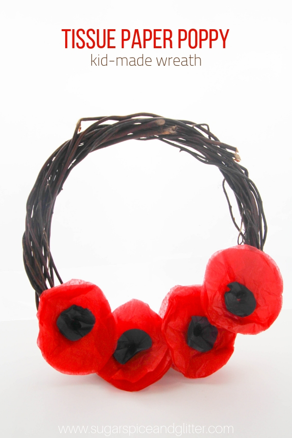 A simple tissue paper poppy craft for kids that makes a gorgeous Remembrance Day Wreath or Veteran's Day craft for kids