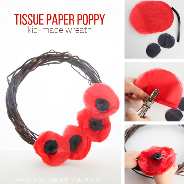 How to make a tissue paper poppy wreath