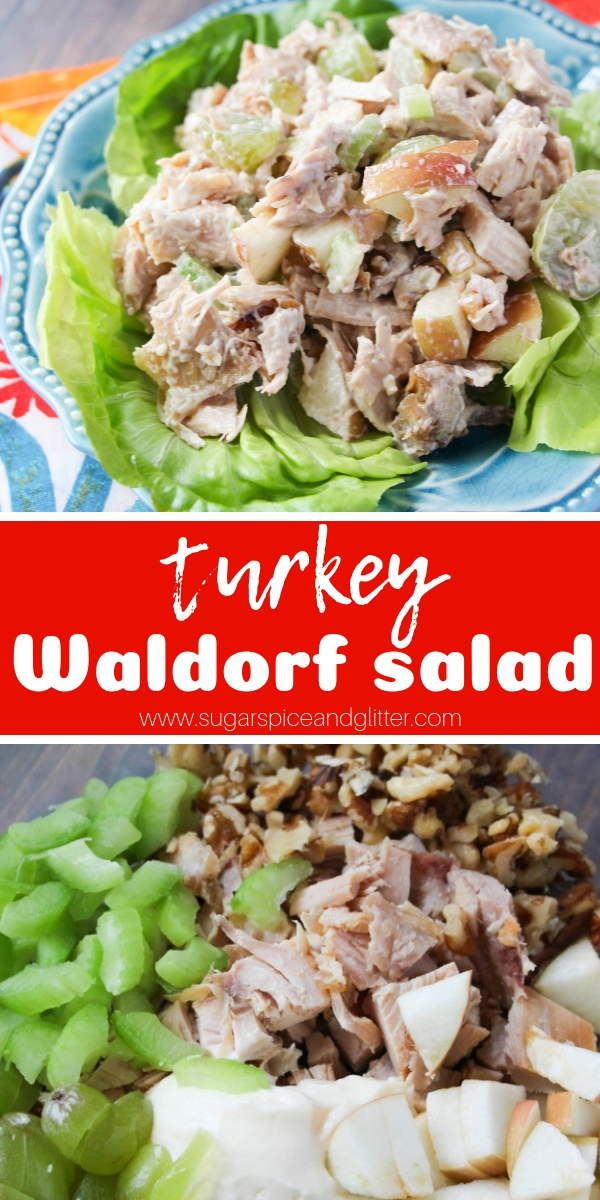 This Turkey Waldorf Salad tastes as indulgent as the original but makes some smart swaps for a healthy turkey salad - perfect for leftover turkey