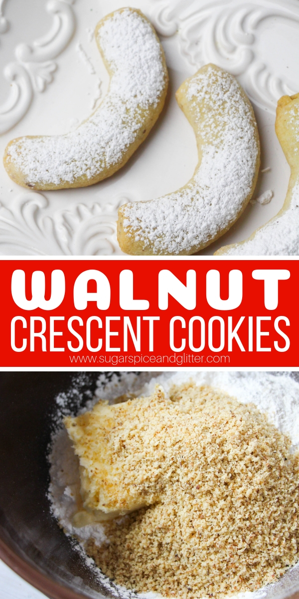 These melt-in-your-mouth Crescent Cookies can be made with hazelnuts, walnuts, almonds or pecans - whatever you prefer!