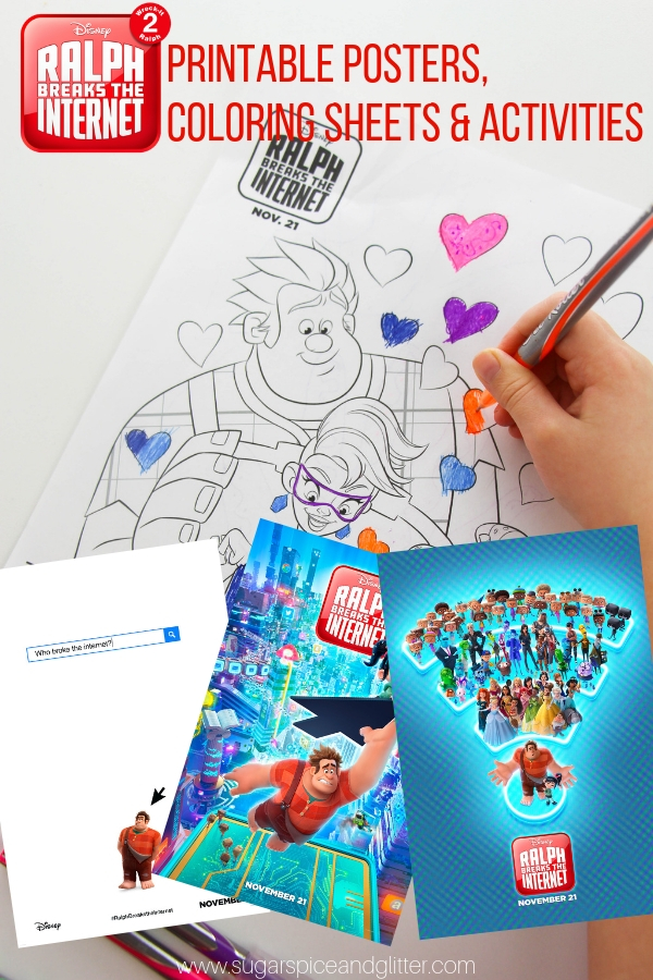 Free printables for the Ralph Breaks the Internet movie - coloring sheets, activity sheets and printable posters