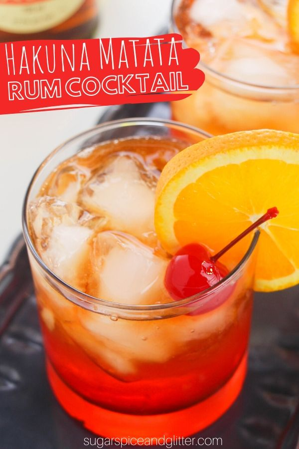 You'll have no worries after a couple of these Hakuna Matata rum cocktails - a fun Disney inspired cocktail recipe