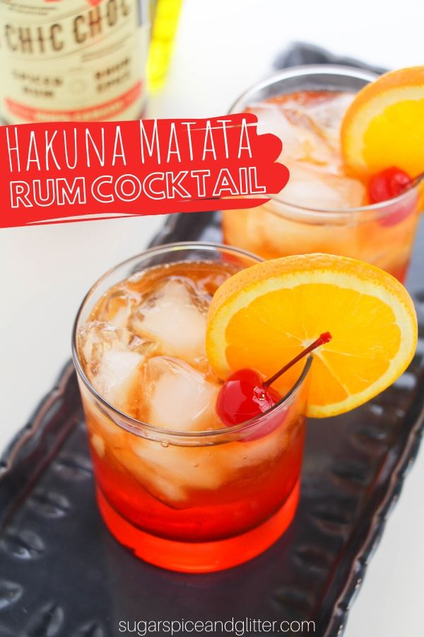 A delicious, tropical cocktail recipe that looks just like a sunset! This triple rum cocktail is the perfect way to finish the day, or enjoy a Disney movie night