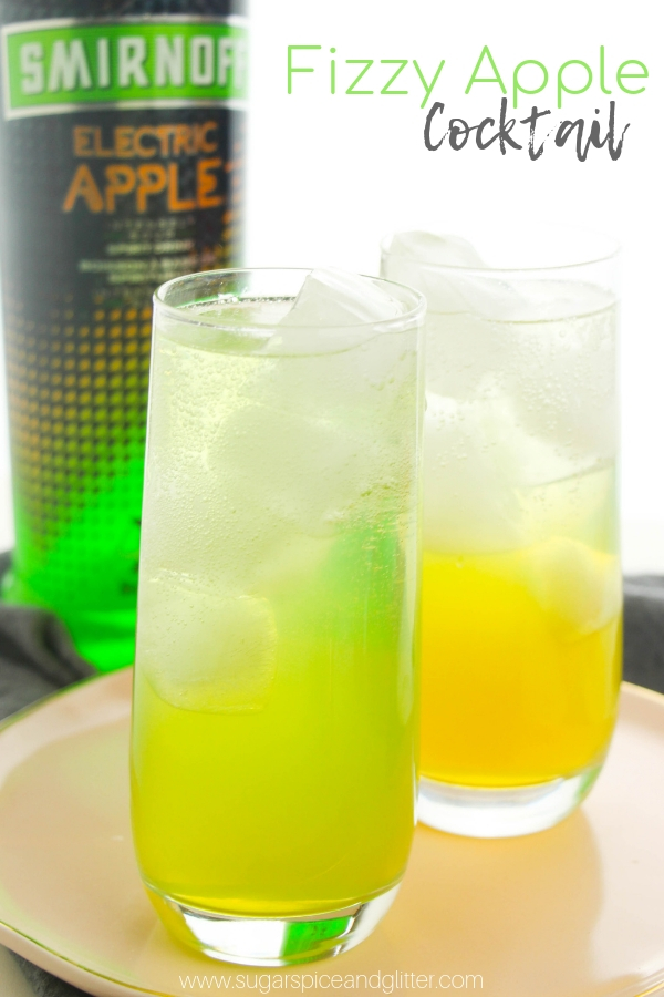 A fun apple cocktail recipe using Apple vodka, apple juice and lemonade. You can make this vodka cocktail as a layered drink or mixed drink