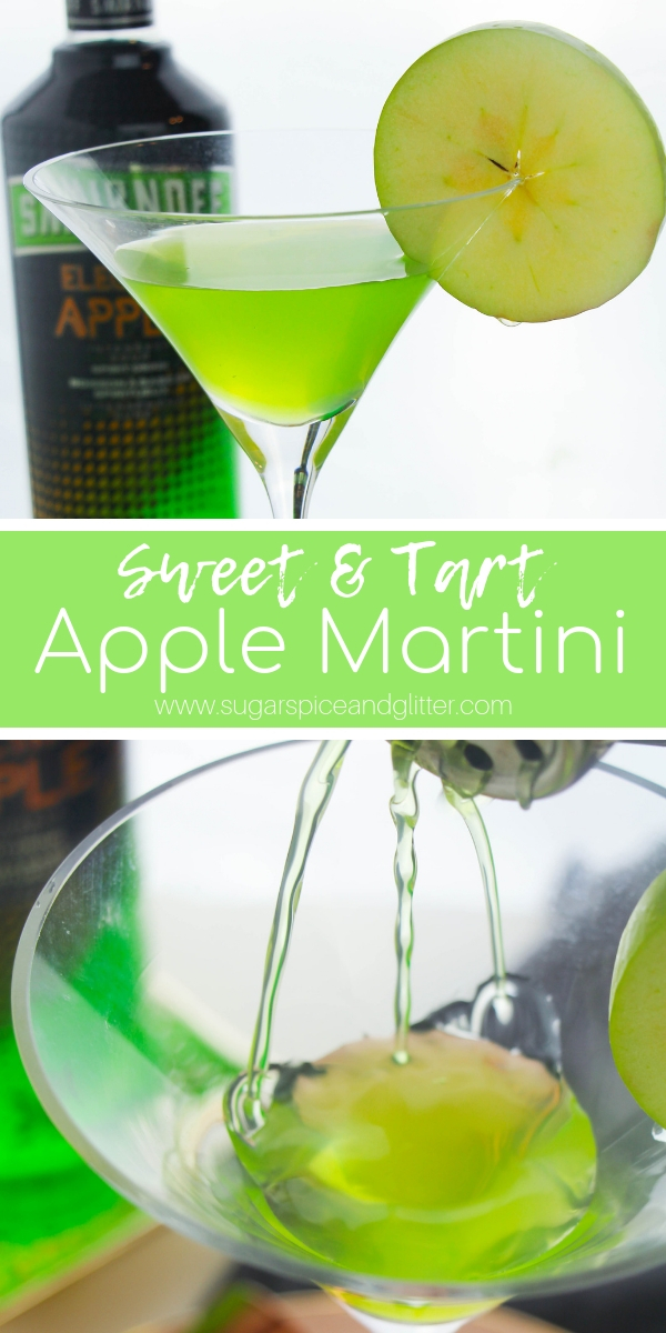 Sweet, Tart and Juicy Appletini recipe - this Apple Martini is a fun vodka cocktail for a girl's night. Vibrant apple flavor with a punch