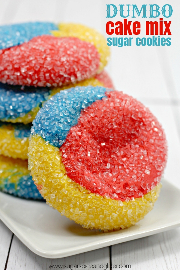 A delicious and fluffy cake mix sugar cookie inspired by Dumbo's Circus. A fun Disney dessert perfect for a family movie night