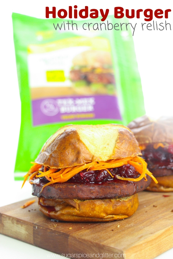 A delicious vegan burger recipe with homemade cranberry relish, stuffing-flavored buns and crunchy shredded carrots.
