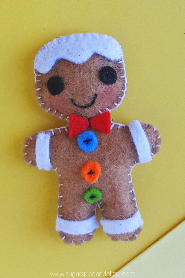 Felt Gingerbread Man Sewing Craft Sugar Spice And Glitter
