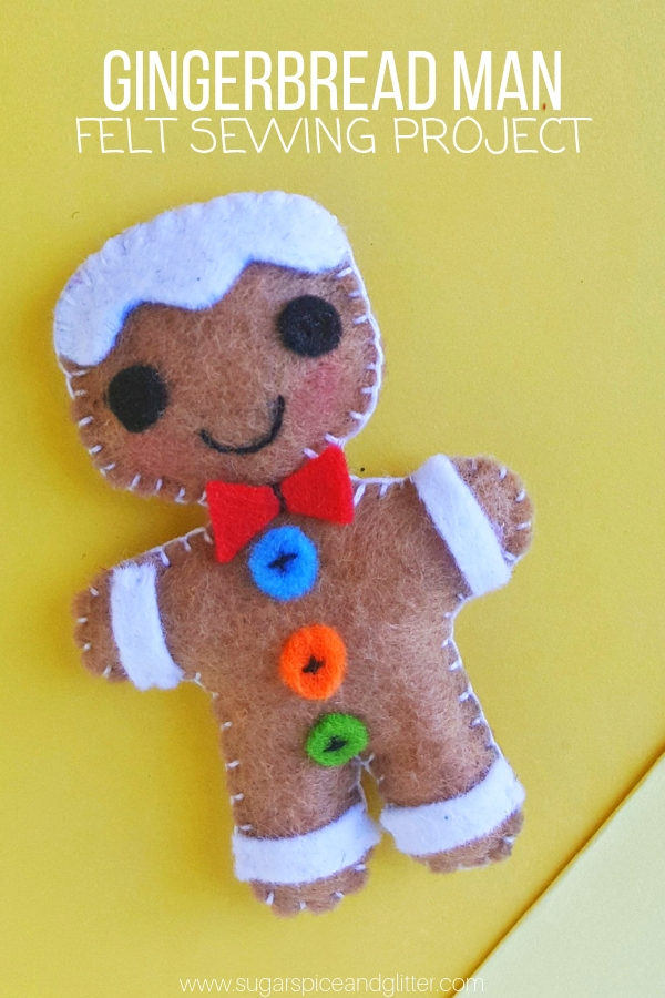 A cute homemade gift, grab our free printable template to make your own Felt Gingerbread Man craft
