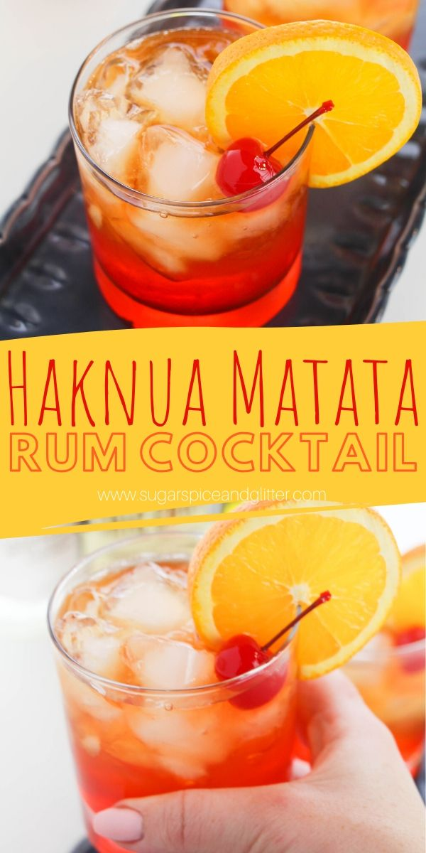 A delicious Disney cocktail recipe, this Hakuna Matata rum cocktail looks like a gorgeous African sunset and has a pleasant tropical taste