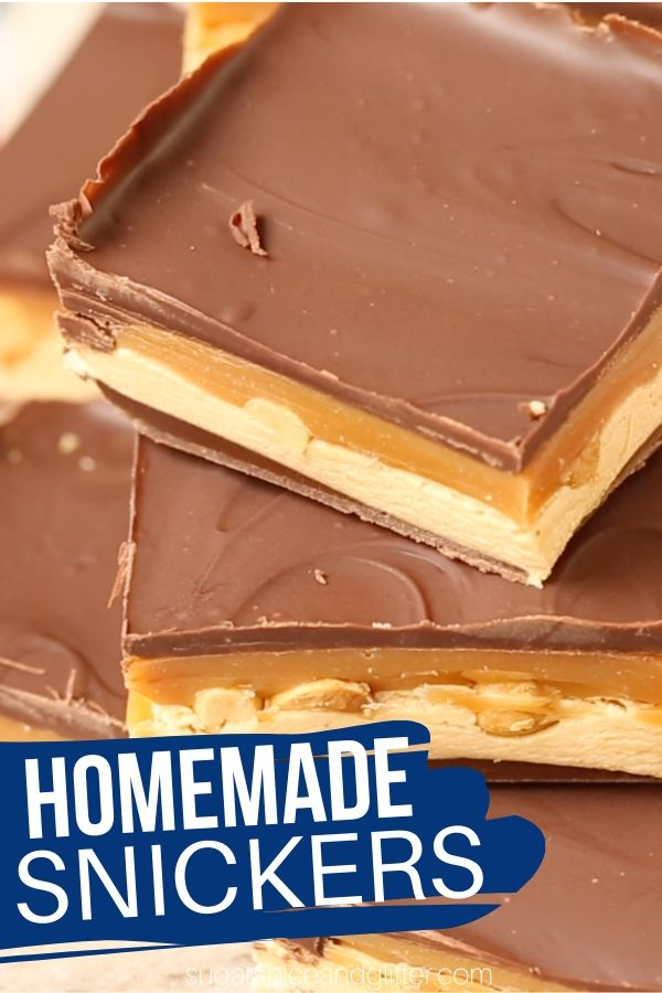 Satisfy your Snickers craving with these indulgent and super easy Homemade Snickers Bars! A simple no-bake recipe for the ultimate peanut butter chocolate dessert
