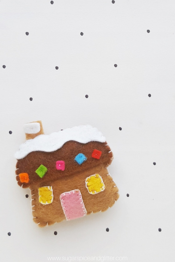 How cute is this kids' sewing project for Christmas? A handmade Gingerbread House ornament