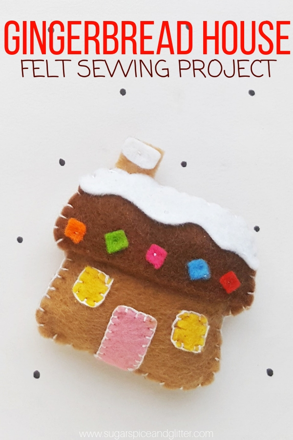A simple sewing project for kids, this easy Gingerbread craft is the perfect Christmas sewing project for a homemade ornament