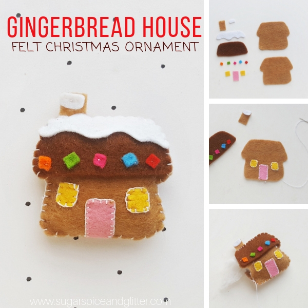 How to make a Felt Gingerbread House ornament using beginning sewing techniques