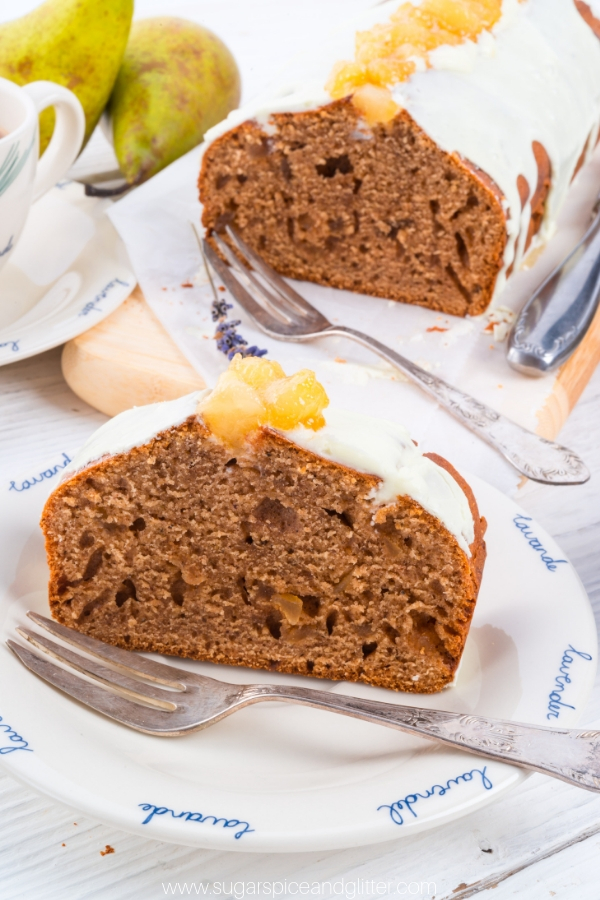 A fun twist on a classic gingerbread, this French Pear Cake combines juicy pear, aromatic spices and zingy ginger