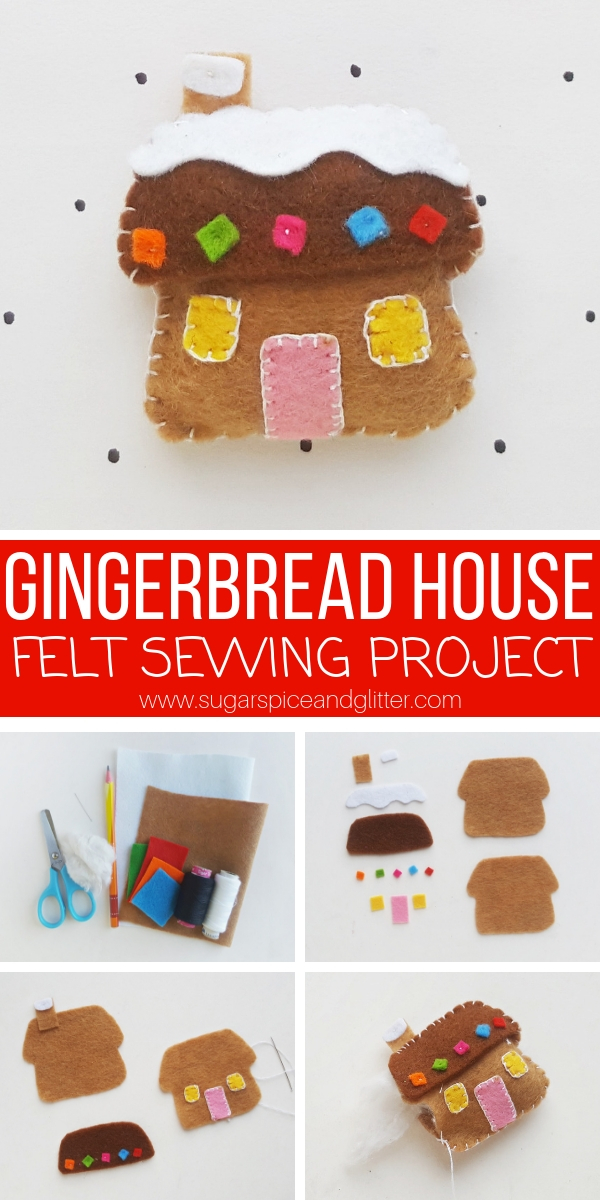 The perfect easy sewing project for Christmas, kids will love making their own Gingerbread House ornament using our free printable template