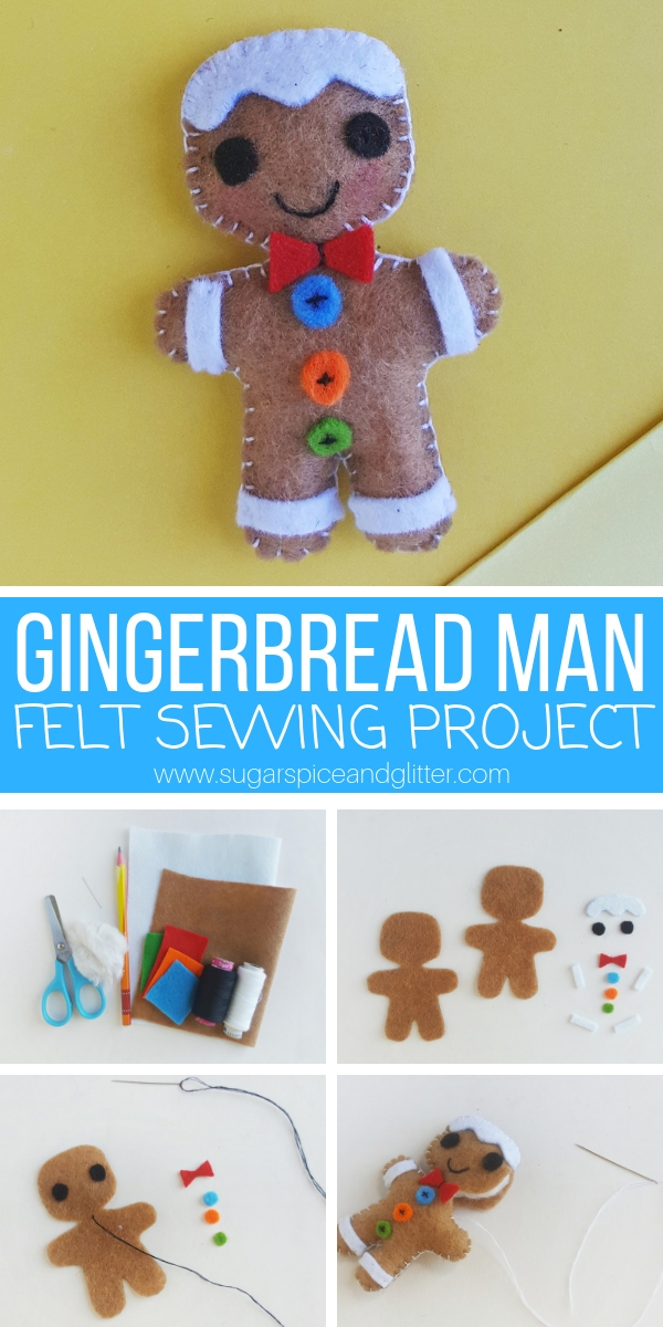A simple sewing project for Christmas, this Felt Gingerbread Man project is perfect for beginning sewers