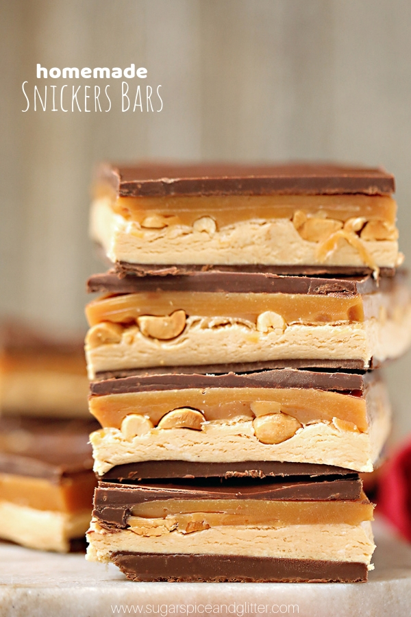 A super simple and delicious recipe for Homemade Snickers! If you have a snickers fan in your life, this is the perfect homemade gift. An easy no-bake dessert