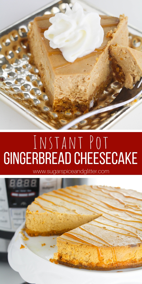 A rich and silky cheesecake perfect for Christmas, this Instant Pot Gingerbread Cheesecake is the perfect low-key Christmas dessert - plus it keeps the oven free for other holiday recipes!