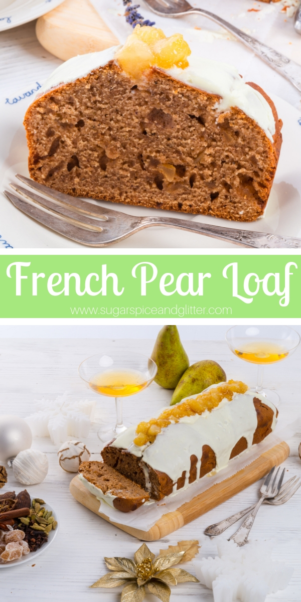 A decadent French Pear Loaf is the perfect simple cake for a special occasion. Combines juicy pear with aromatic spices and a bit of spicy ginger for a fun alternative to gingerbread