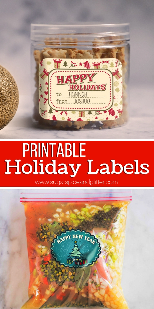 These Printable Holiday Labels are perfect for homemade gift labels or using in the freezer for holiday meal prep