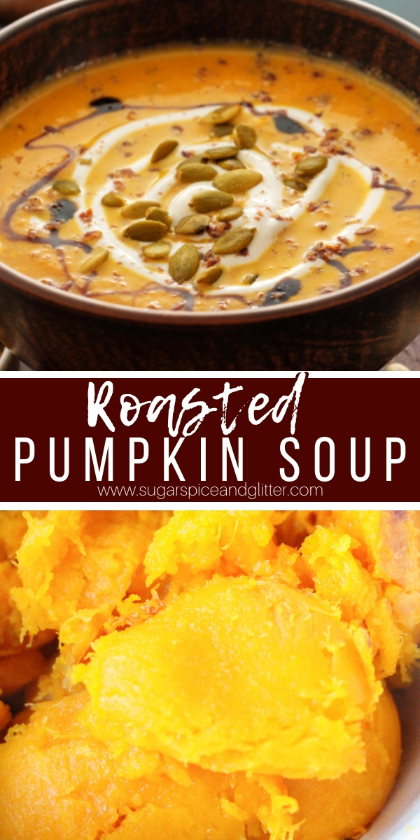 The BEST Pumpkin Soup ever - roasted sugar pumpkin, apple, garlic, paprika and sage combine to make this mouth-watering soup