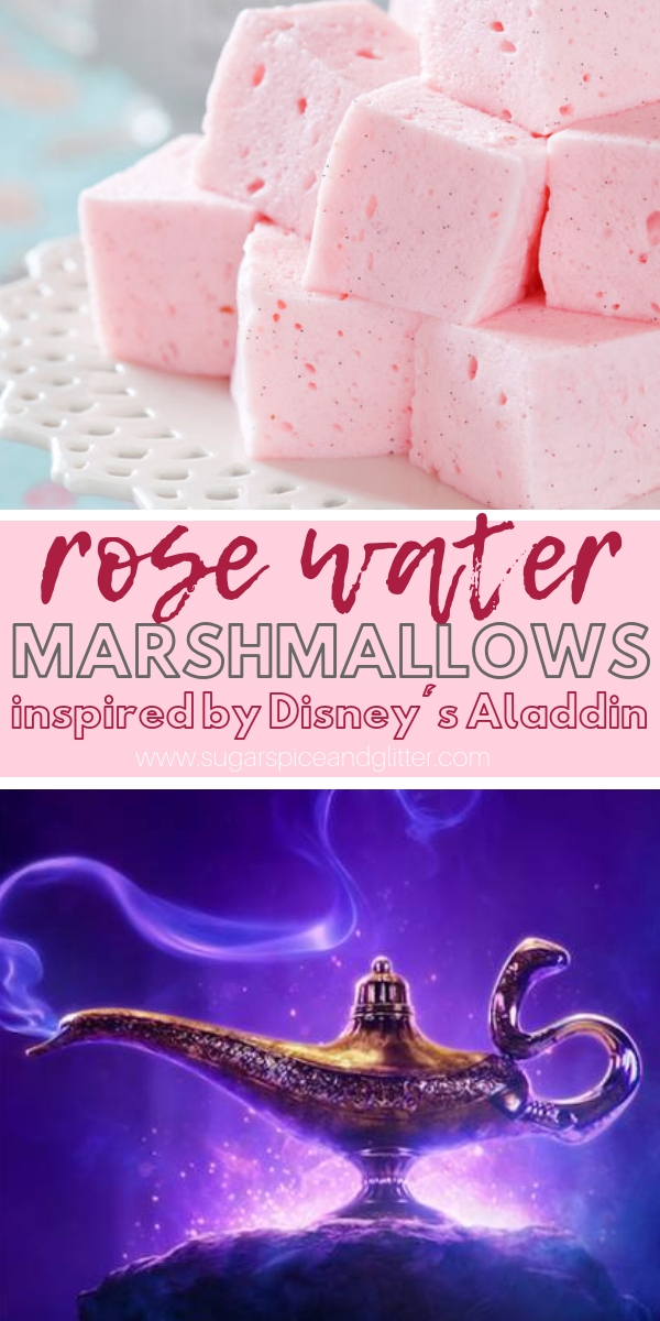 A delicious rose-vanilla flavored marshmallow recipe that is absolutely divine. A perfect Aladdin dessert for a family movie night