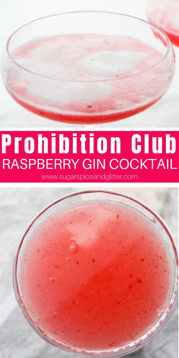 Our Prohibition Club cocktail is a raspberry lemonade cocktail made with gin and a frothy egg white - perfect for 1920s Gatsby themed parties!