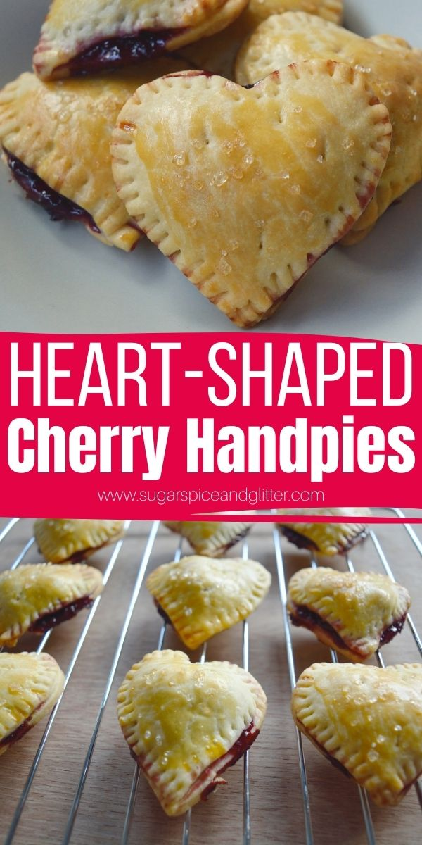 How to make heart-shaped cherry handpies. A fun Valentine's Day breakfast or dessert recipe that the kids can help make - before they devour them! Just 4-ingredients and less than 10 minutes of prep time for perfect, flavorful cherry pies