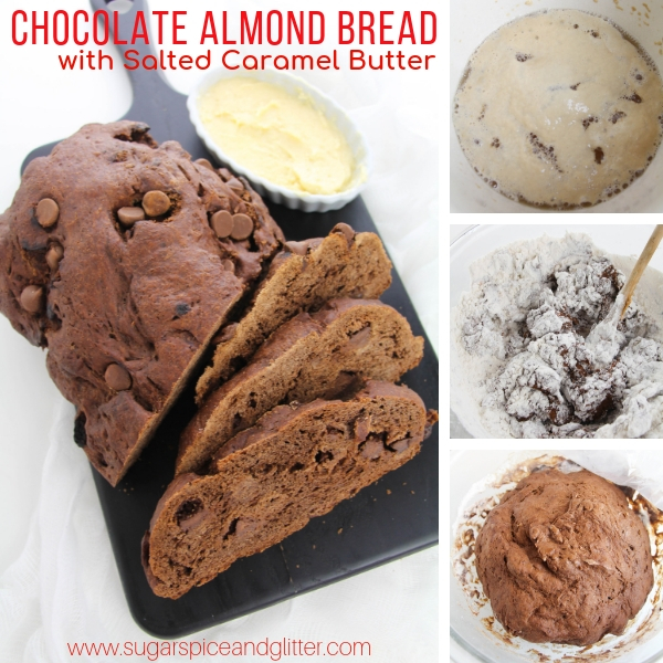 How to make chocolate almond bread with salted caramel butter, a Universal Studios Chocolate Emporium copycat recipe