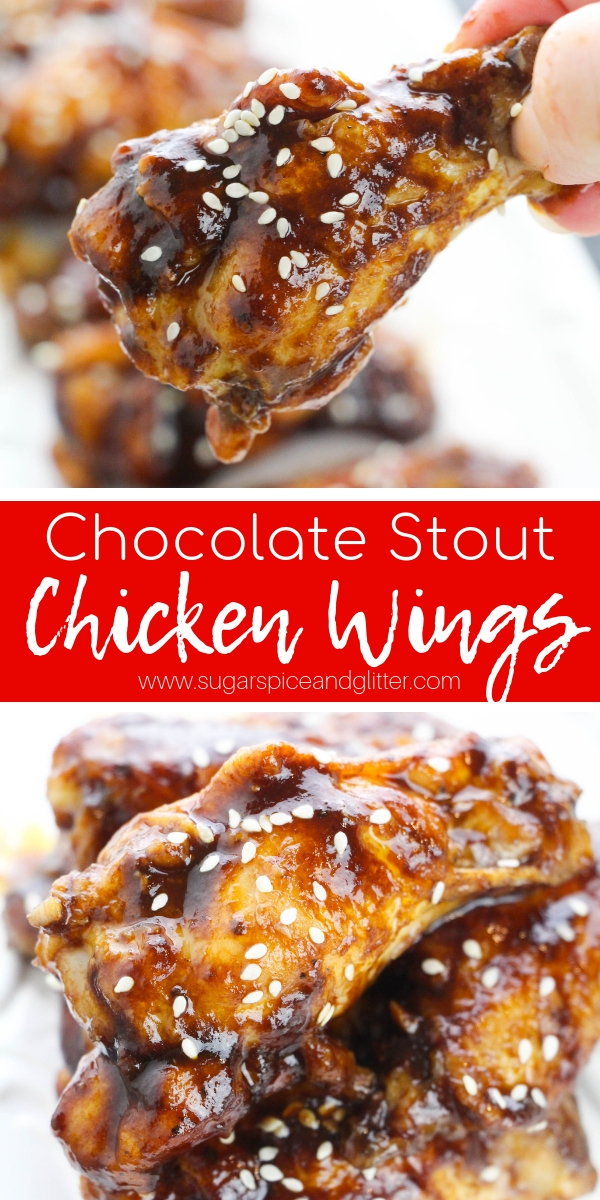 A sweet and savoury Chicken Wing recipe made with your favorite stout. This Guinness recipe has a chocolatey taste which sounds weird, but totally works!