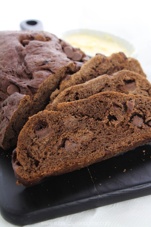 A fun twist on a classic homemade sandwich bread, this Chocolate Almond bread makes for a unique sandwich - no matter what you top it with