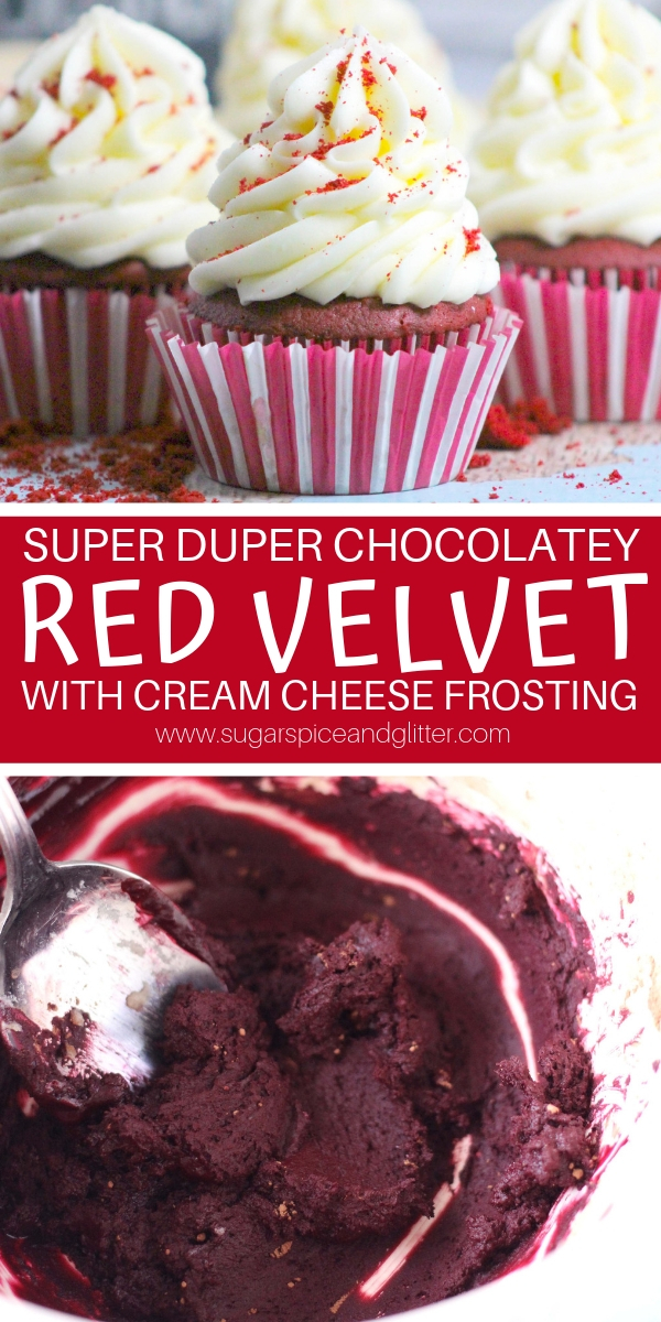 How to make red velvet cupcakes without food dye using a simple kitchen chemistry hack! Pair it with our rich and tangy cream cheese frosting for the ultimate red velvet cupcake
