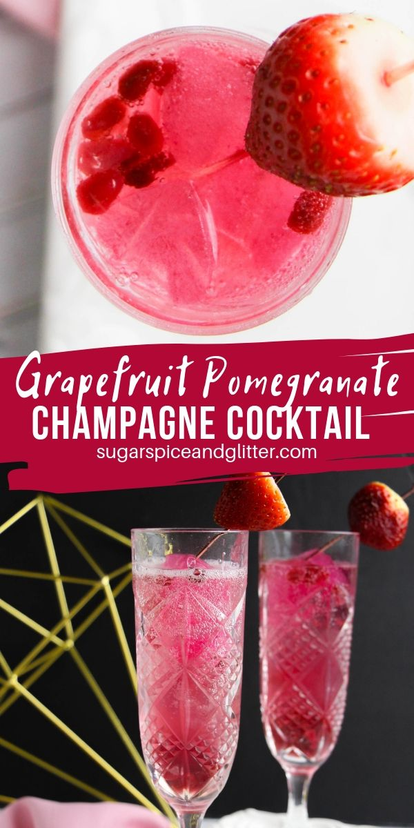 A grapefruit vodka champagne cocktail perfect for Valentine's Day, bachelorette or a girls' night out