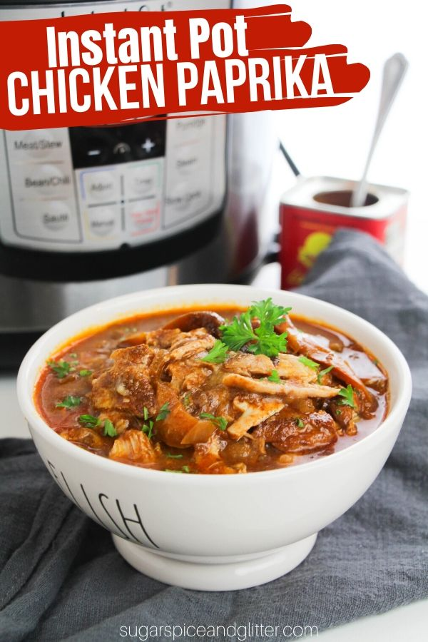 How to make chicken paprika in the instant pot. Flavorful, filling and super healthy! The perfect cold weather comfort food. Use sweet or smoked paprika for family-friendly, or spice it up with hot paprika