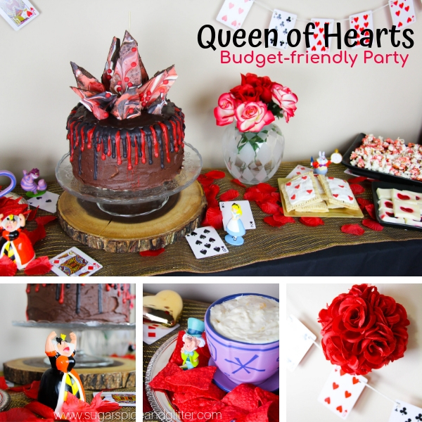 A step-by-step tutorial with everything you want to know about throwing a Queen of Hearts Party - a unique twist on an Alice in Wonderland party for Valentine's Day