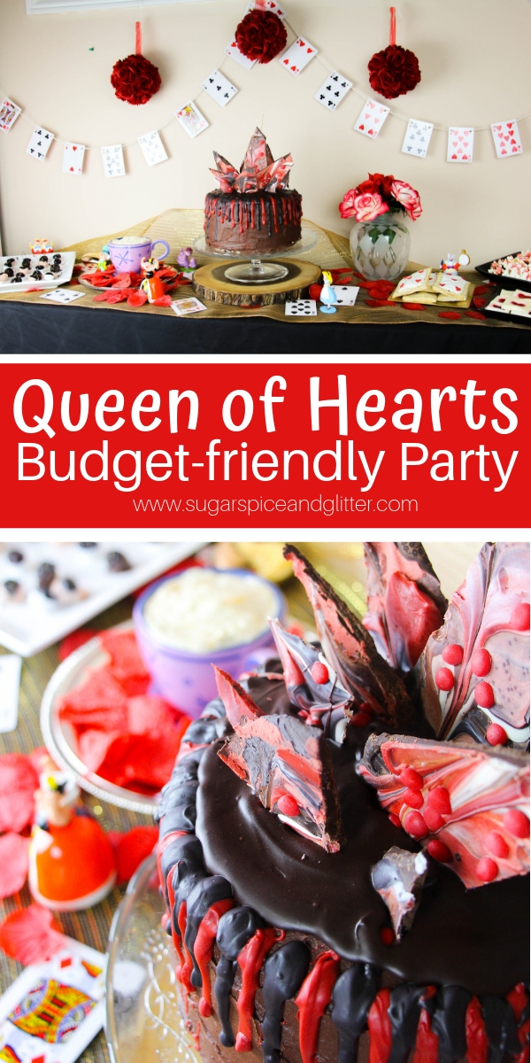 Whether you're hosting for Valentine's Day or a unique Birthday party, this Queen of Hearts party is fun and budget-friendly, with party games, party food and homemade party decor