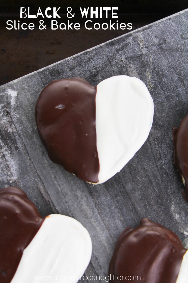A fun take on slice and bake cookies, these Black and White Cookies can be made in any shape and are a real treat with melt-in-your-mouth sugar cookie dough and a fun contrast of dark and white chocolate