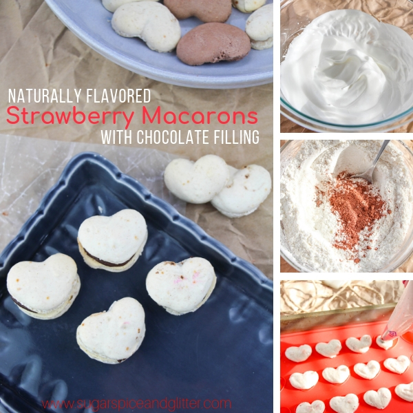 How to make heart-shaped strawberry macarons and chocolate ganache filling for macarons