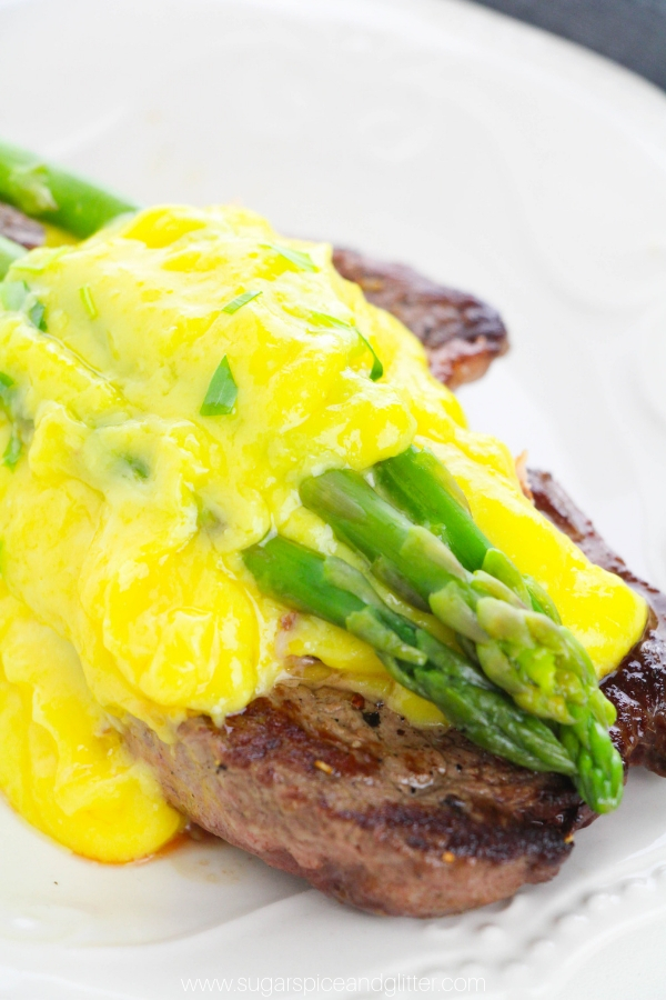 Simply the best surf and turf recipe you will ever eat - let alone make! Steak Oscar combines pan seared steak, crabmeat, asparagus and buttery bearnaise sauce