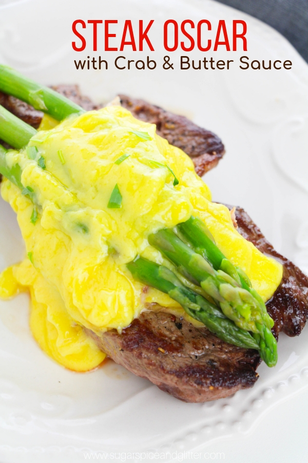 A delicious take on surf and turf, Steak Oscar is a classic recipe made with steak, fresh crab meat, buttery bearnaise sauce and asparagus. It's the perfect special occasion steak recipe