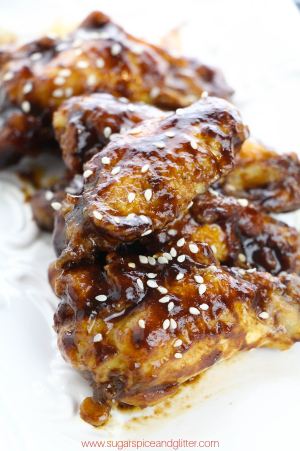 The perfect St Patrick's Day appetizer - Stout chicken wings. You can use Guinness or any other favorite stout beer