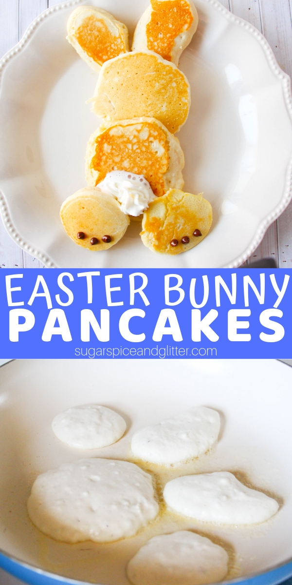 How cute are these Easter Bunny Pancakes? And super simple to make - check out our quick tutorial including the best fluffy pancake recipe!