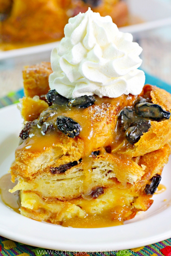 Bourbon-soaked Bread Pudding, the best Bread Pudding recipe you will ever eat - for grown-ups only! Topped with creamy Bailey's Butter Sauce