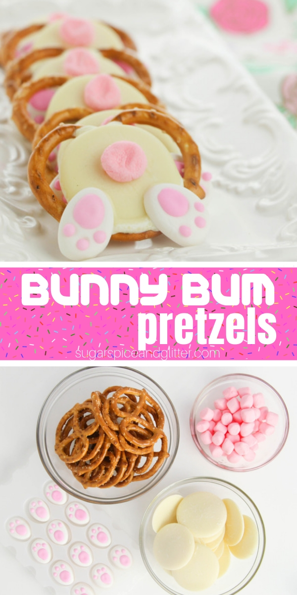 These Bunny Bum Pretzels are a sweet and salty Easter dessert that take less than 10 minutes to make! The kids will love this funny Easter Bunny dessert