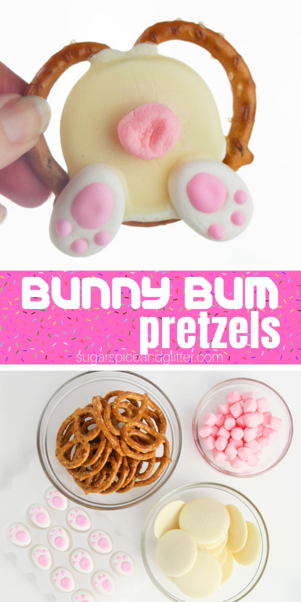 How adorable are these Bunny Butt pretzels? A simple Easter dessert for an Easter party or to include in Easter lunch boxes