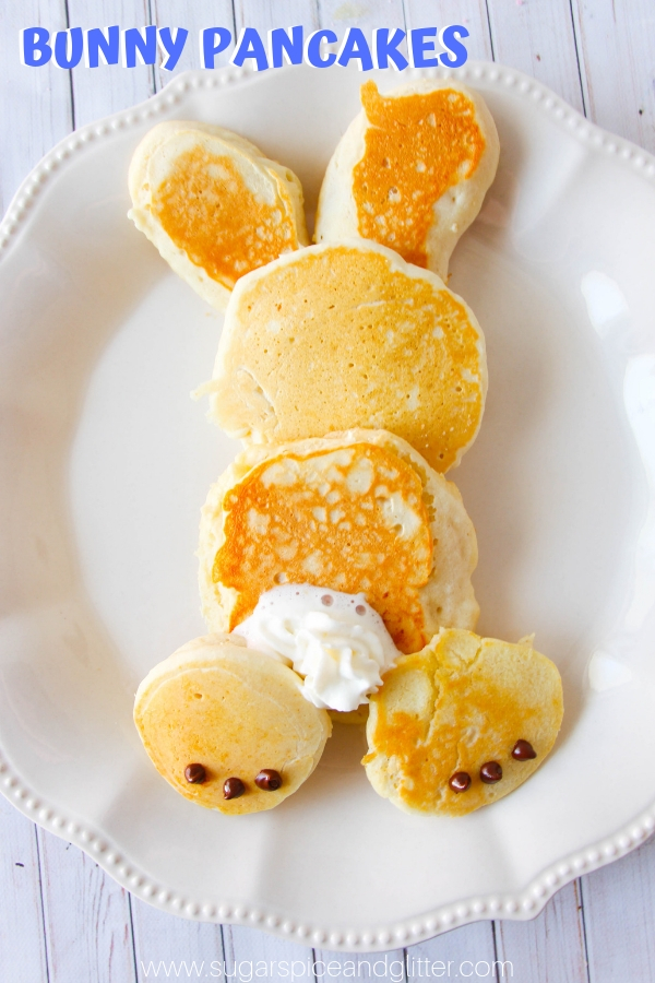 The kids will love these cute Bunny Pancakes on Easter morning - and you'll love how simple they are to make, even from scratch!