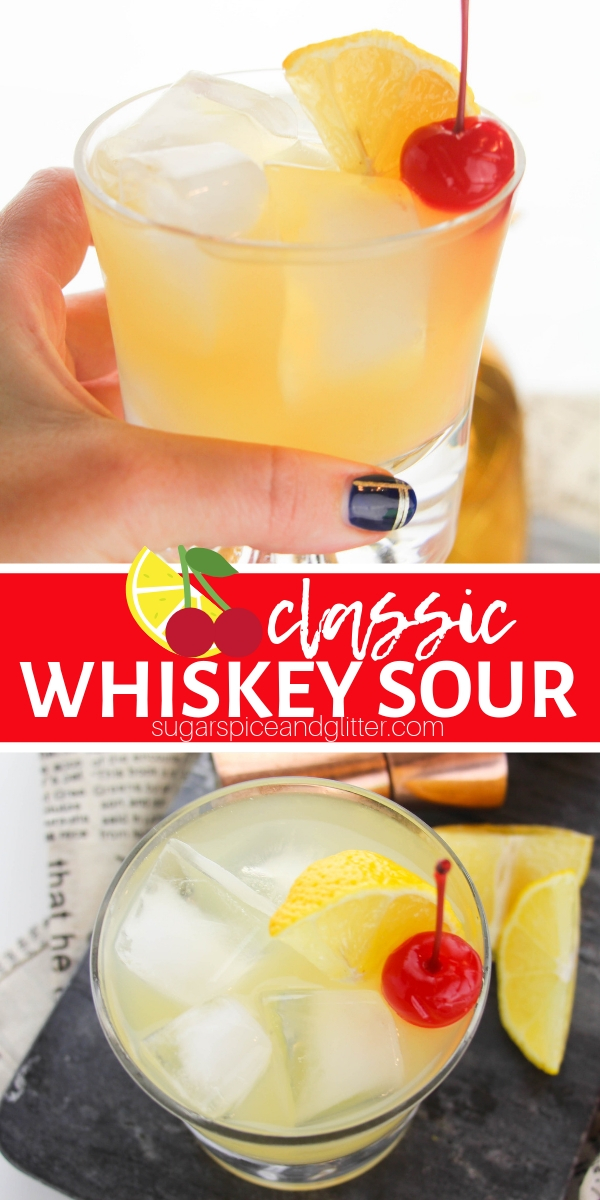 A classic Whiskey Sour Cocktail recipe using just three ingredients. No need to break out the expensive whiskey for this recipe that tastes like a grown-up lemonade cocktail.
